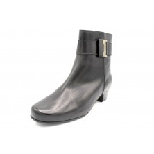 Drucker Calzapedic botín negro de piel con tacón, plantilla extraible