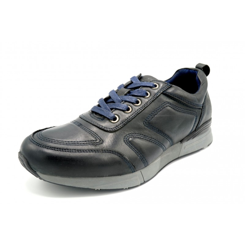 Paredes Forrest Marino - Zapato casual de piel con cordones