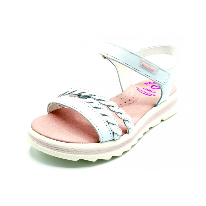 Pablosky 467400 Blanco/Rosa - Sandalia de piel para niña