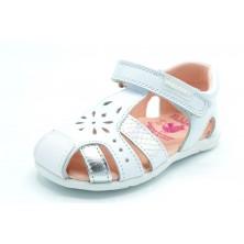 Pablosky 073100 Blanco/Plata - Sandalia de piel primeros pasos para niña