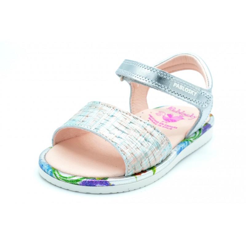 Pablosky 076850 Plata/multicolor - Sandalia de vestir para niña
