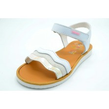 Pablosky 462500 Blanco/rosa - Sandalia de piel para niña