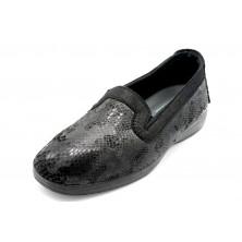 Muro 8057 negro - Zapatilla de paño elástica con plantilla extraible