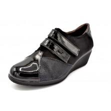 Popcorn 2075G Negro - Zapato de velcro con cuña