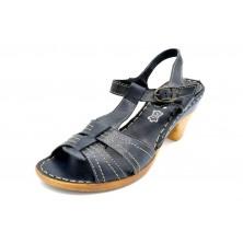 Porronet 5070 Negro | Sandalia de piel con tacón