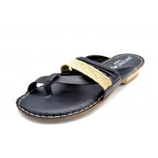 Porronet 5400 Negro | Sandalia plana de piel