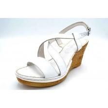 Porronet 5230 Blanco | Sandalia de piel con cuña