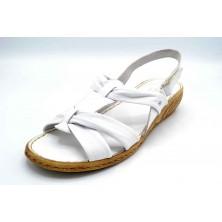 Porronet 5412 Blanco | Sandalia de piel con cuña