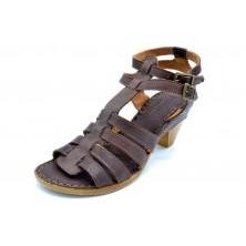 Porronet 0864 Moka | Sandalia de piel con tacón