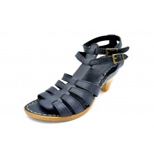 Porronet 0864 Negro | Sandalia de piel con tacón