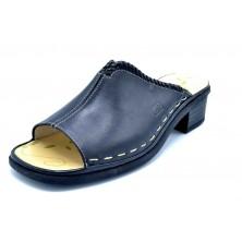 Fluchos 3870 Negro | Sandalia de piel con tacón